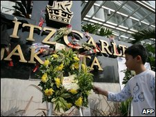 Floral tributes left at the Ritz-Carlton hotel in Jakarta following the 17 July bombings