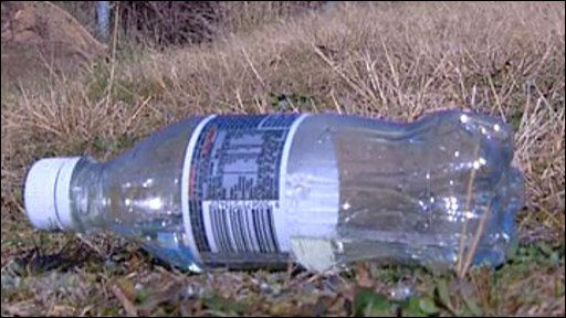 An empty plastic bottle