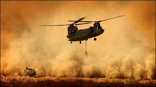 Chinook helicopter in Afghanistan