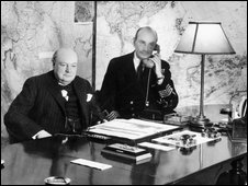 Undated photo of Winston Churchill in the Cabinet War Rooms map room. Copyright of Imperial War Museum/PA