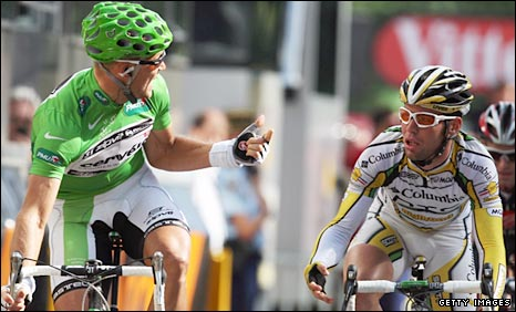 Thor Hushovd gestures to Mark Cavendish after the finish on Saturday