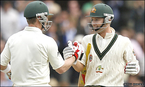 Michael Clarke celebrates his hundred with Brad Haddin