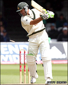 Ricky Ponting plays on to his leg stump