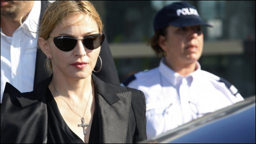 Madonna leaving the Marseilles hospital where the injured are being treated