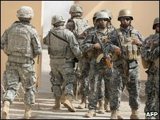 US and Iraqi security forces in Baquba, Iraq (June 2009)
