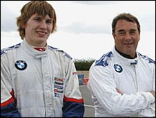 Henry Surtees (left) and Nigel Mansell