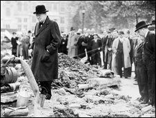 Winston Churchill inspects a bomb crater.Copyright of Imperial War Museum/PA