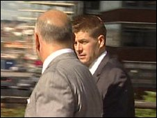 Steven Gerrard arriving in court