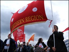Corus workers march through Redcar