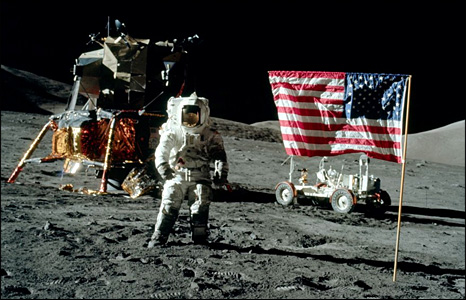 Jack Schmitt poses with US flag (Nasa)
