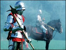 Re-enactment of medieval soldiers