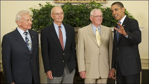 Apollo 11 astronauts with President Obama