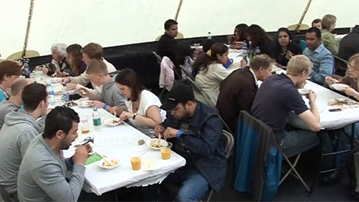 Diners at Manchester International Festival's Feast enjoyed five world dishes