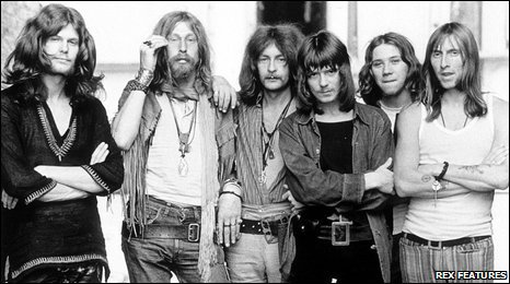 Hawkwind in the early 70s: (l-r) Thomas Crimble, Nik Turner, Dik Mik, Huw Lloyd-Langton, Terry Ollis, Dave Brock