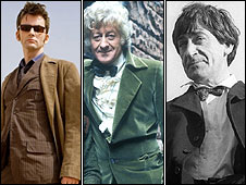 David Tennant, Jon Pertwee and Patrick Troughton