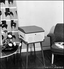 1950s turntable... and curtains and chair