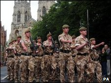 Soldiers marching in York
