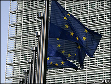 EU flags at European Commission, Brussels