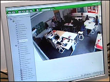 The CCTV footage from Stockwell High School  being monitired on a computer