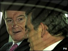 Lord Mandelson and Gordon Brown on a recent visit to a Nissan car plant