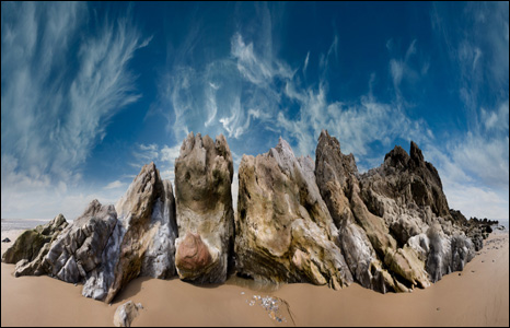 Gerard Rodger created this amazing image by taking 12 separate pictures of rocks at Pwll Du Bay in the Gower, then stitching them together on a computer.