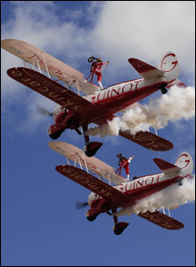 Acrobatics at the airshow in Swansea, this time from wing walkers on bi-planes (Taha Idris).