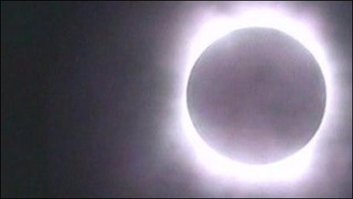 Total solar eclipse filmed in from China