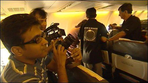 Enthusiasts on board the eclipse flight in India