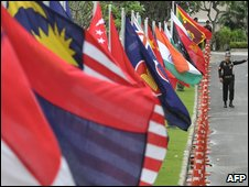 The flags of nations attending the Asean conference