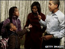 The Obama daughters get ready for school