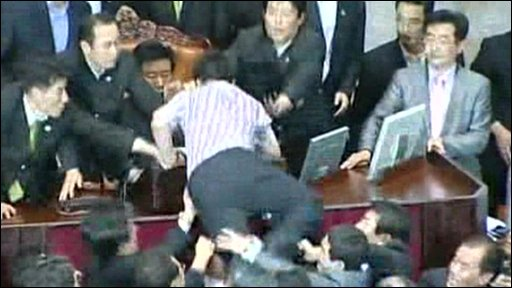 Politicians fighting in South Korea's parliament