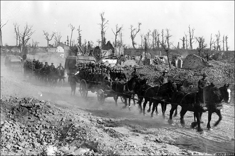 British troops, using horse-drawn transport, move up the line through Ypres