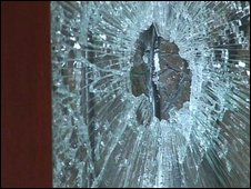 Windows were smashed in the attack