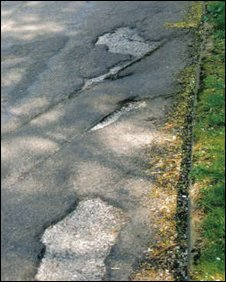 Potholes in Ashtead Lane, Godalming