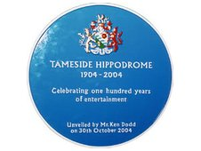 Tameside Hippodrome's blue plaque