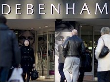Shoppers outside Debenhams