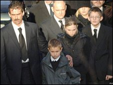 Sharon Beshenivsky's family at her funeral
