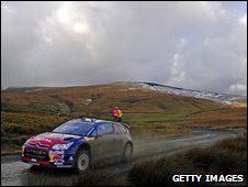 Sebastian Loeb races through the Welsh mountains on his way to victory in the 2008 event