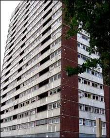 One of the two tower blocks which had been earmarked for demolition