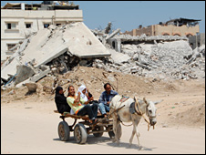 Donkey-drawn cart in Gaza