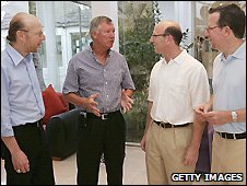 Sir Alex Ferguson with Avram, Joel and Bryan Glazer. (Pic taken 2005)