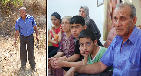 Sami Salameh at the site of his demolished home (l) and with his family in Majdal Krum (r)