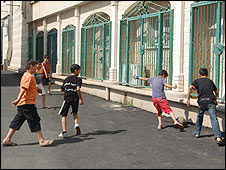 Israeli Arab children playing football in Majdal Krum