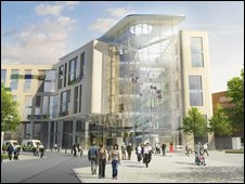 Computer image showing the main entrance to the new hospital