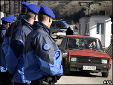 Eulex police officers on the Kosovo border (2008)
