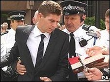 Steven Gerrard outside Liverpool Crown Court