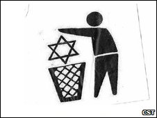 A sticker showing the Star of David being tossed into a bin