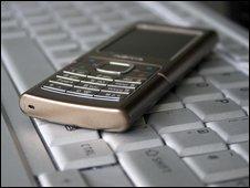 Phone on laptop, BBC