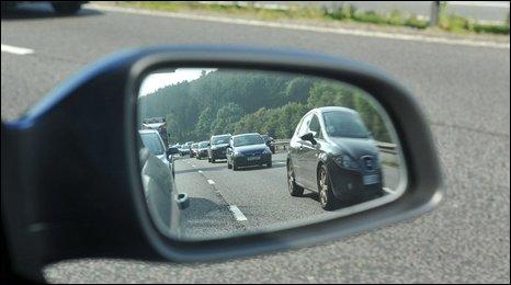 Cars seen in windscreen