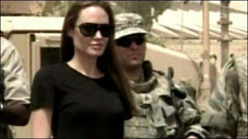 Angelina Jolie meets troops
